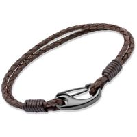 Mens Unique & Co Black Ion-plated Steel Brown Leather Bracelet 23cm