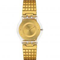 Damen Swatch schmal - golden Lippen L Uhr