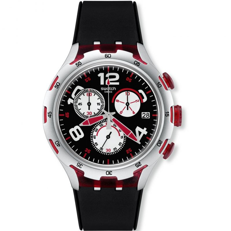 Mens Swatch Irony X-Lite - Red Wheel Chronograph Watch YYS4004