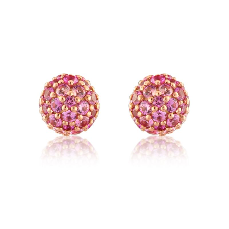 Jewellery 18ct Gold Rose Gold Pink Sapphire Stud Earrings