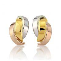 Weiß Rose und Gelb Gold Drop Stud Ohrringe