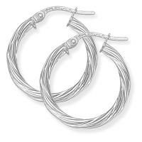 Jewellery White Gold Twisted Hoop Earrings Watch ER817
