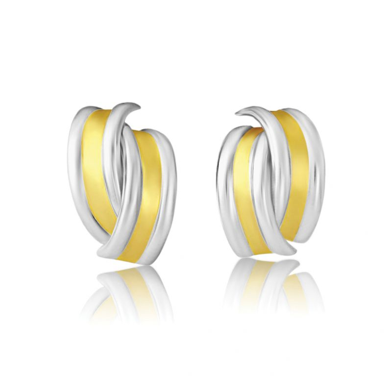 White and Yellow Gold Stud Earrings