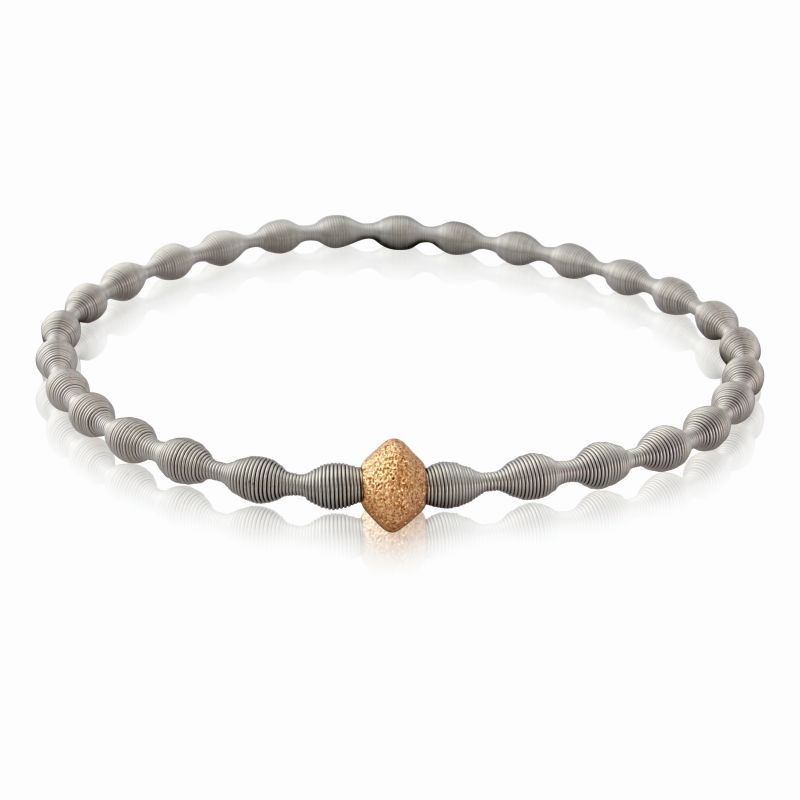 Jewellery Stainless Steel Spring Bangle with Fancy Rose-hue Galvanised Silver Bead