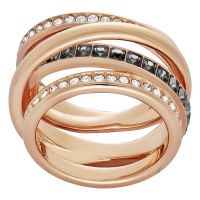 Ladies Swarovski PVD rose plating Size Q Dynamic Ring 58 5184219