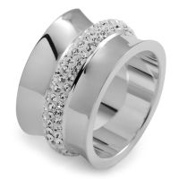 Ladies Folli Follie Stainless Steel Size N.5 Dazzling Ring