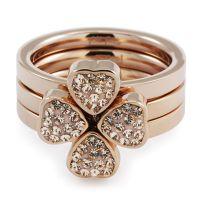 Ladies Folli Follie PVD rose plating Size P Hrt 4 Hrt Ring 5045.3305