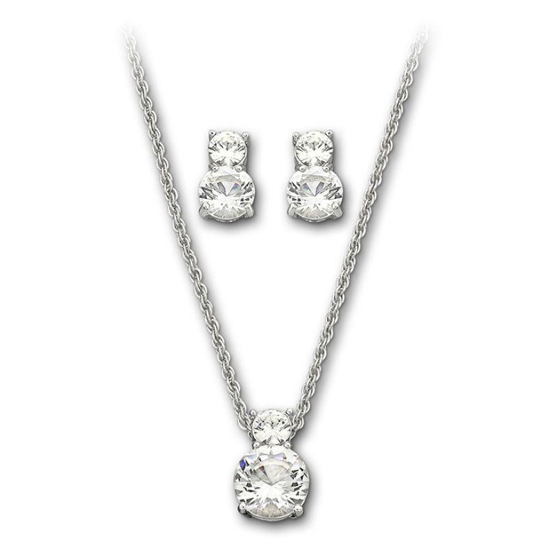 femme Swarovski Jewellery Brilliance Necklace Earring Set Watch 1807339