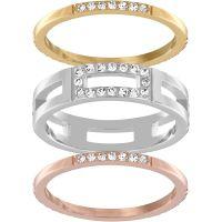 Damen Swarovski zweifarbig Stahl/vergoldet Größe O Cubist Ring 55