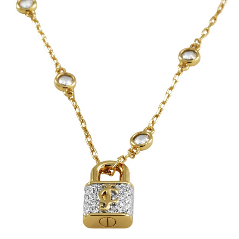 Ladies Juicy Couture PVD Gold plated Pave Padlock Necklace WJW382-710