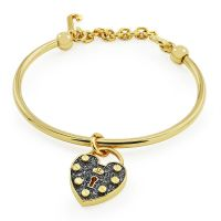 Ladies Juicy Couture PVD Gold plated Pave Heart Padlock Slider Bangle WJW516-710