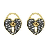 Juicy Couture Dam Pave Heart Padlock Stud Earrings PVD guldpläterad WJW529-710