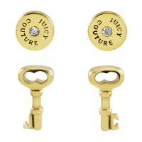 femme Juicy Couture Jewellery Key And Disc Earrings Set Watch WJW528-710