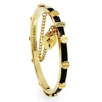 Ladies Juicy Couture PVD Gold plated Heart Padlock And Screw Enamel Bangle