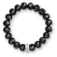 Ladies Thomas Sabo Sterling Silver Charm Club Black Obsidian Bracelet X0035-023-11-L