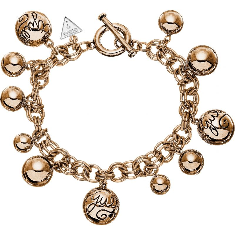 Ladies Guess Rose Gold Plated Charm Bracelet UBB51201