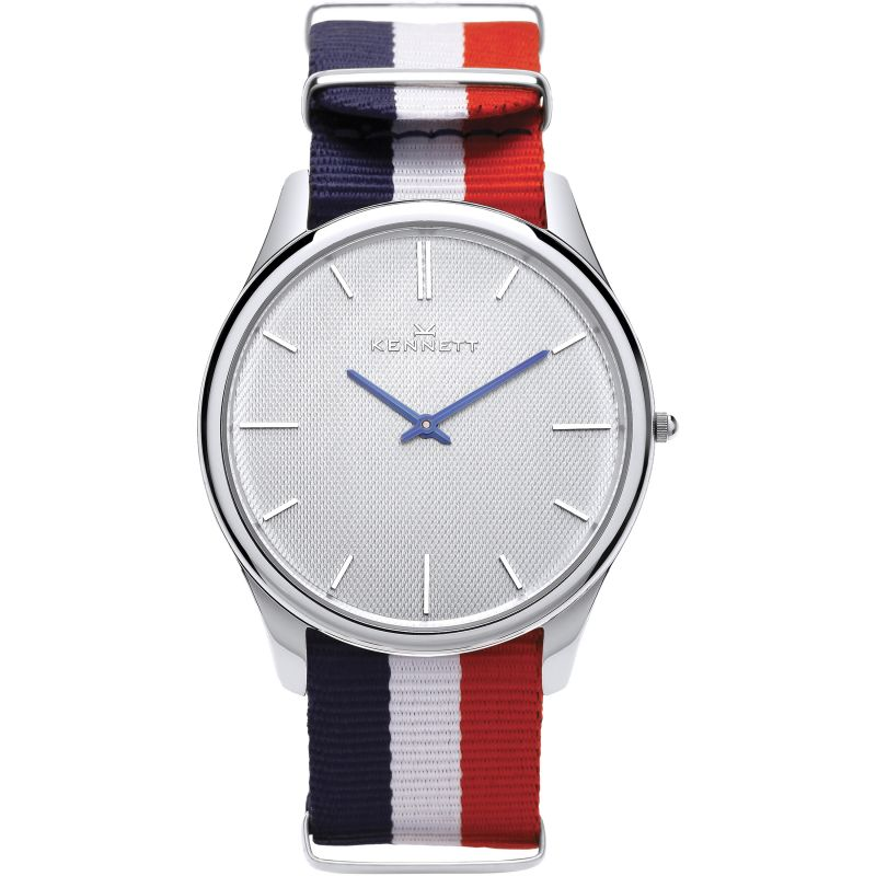 Mens Kennett Kensington Silver White RWB Nato Watch KSILWHRWBNATO