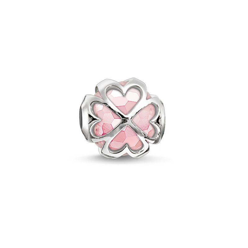 Ladies Thomas Sabo Sterling Silver Karma Beads Cloverleaf Rose Bead K0170-034-9
