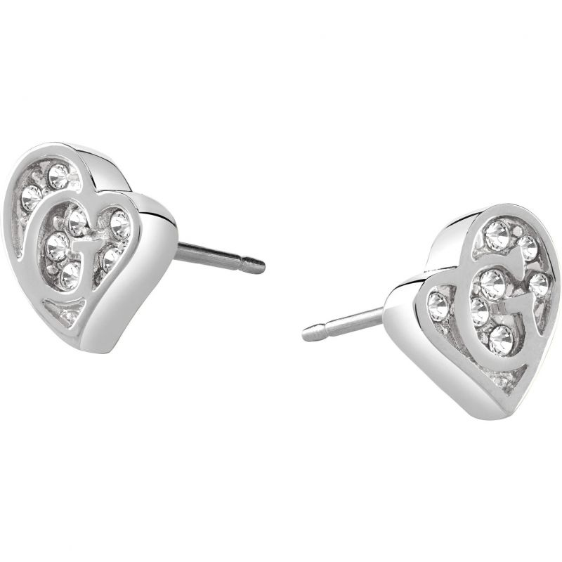 Ladies Guess Rhodium Plated G Hearts Earrings UBE71523