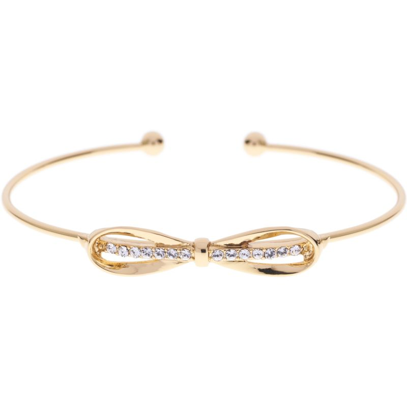Ladies Ted Baker PVD Gold plated Sorina Sleek Bow Ultra Fine Cuff TBJ1090-02-02