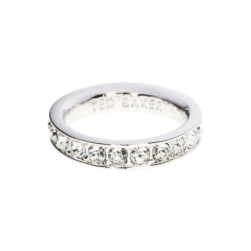Ladies Ted Baker Silver Plated Claudie Narrow Crystal Band Ring Ml TBJ1051-01-02ML