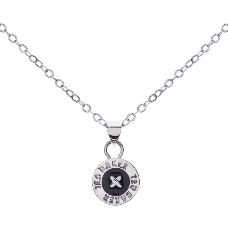 Ladies Ted Baker PVD Silver Plated Tella Enamel Button Pendant Necklace TBJ1043-01-05