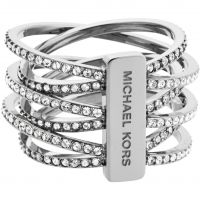 Michael Kors Dames Statement Crossover Ring Size P PVD verguld Zilver MKJ4423040508