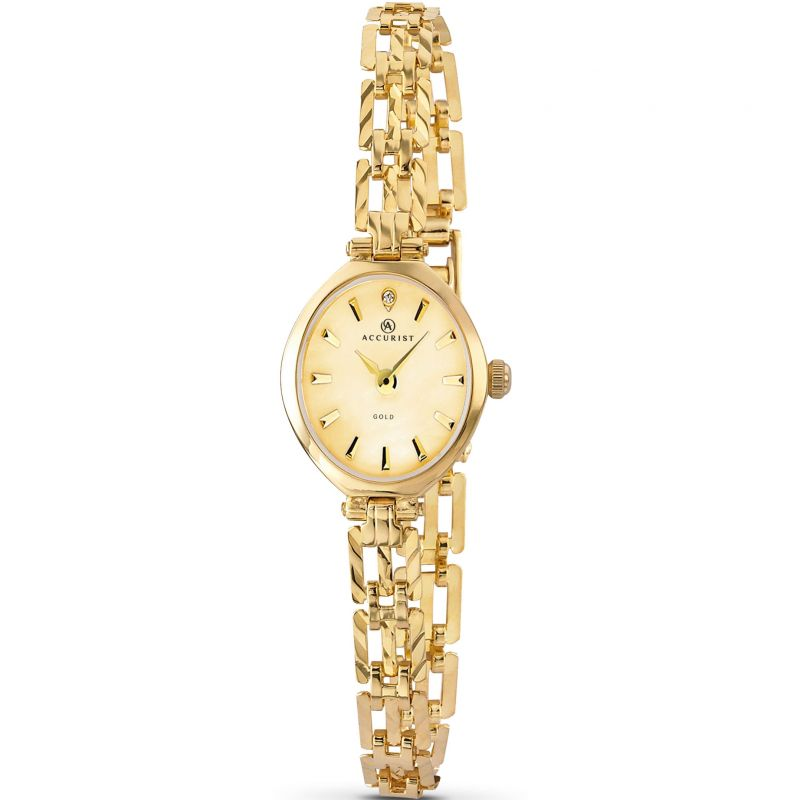 Ladies Accurist London 9ct Gold Watch 8802