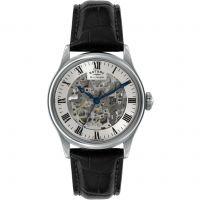Herren Rotary Vintage Mecanique Skelett Automatik Uhr