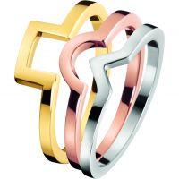 Damen Calvin Klein zweifarbig Stahl/vergoldet Größe J Wonder Ring