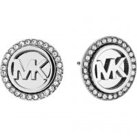 Ladies Michael Kors PVD Silver Plated Logo Earrings