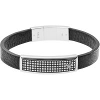 Mens Emporio Armani Stainless Steel Leather ID Bracelet