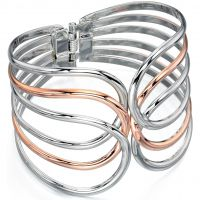 Ladies Fiorelli Two-Tone Steel and Rose Plate Bangle