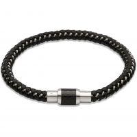 Mens Unique Stainless Steel Leather Bracelet B241BL/19CM