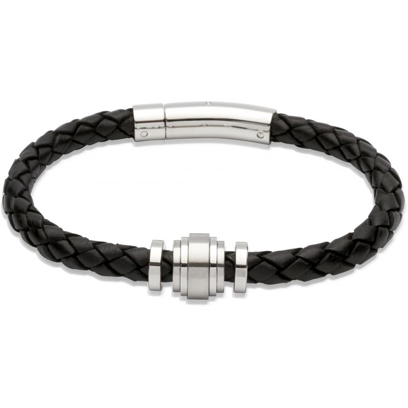 Mens Unique & Co Stainless Steel Leather Bracelet B245BL/19CM