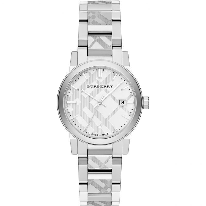 Ladies Burberry The City Engraved Check Watch BU9144