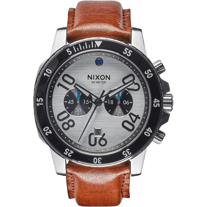Mens Nixon The Ranger Leather Chronograph Watch A940-2092