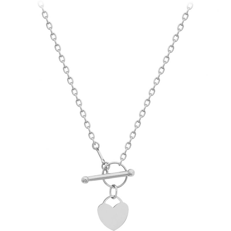 Ladies Essentials 9ct White Gold Heart T-Bar Necklace AJ-13010209