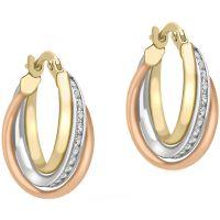 Damen Essentials 9ct Gold Drei Farbe groß würfelförmig Zirconia Ohrringe
