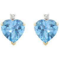 Damen Essentials 9ct Gold Blau Topas und Diamant Herz Stud Ohrringe