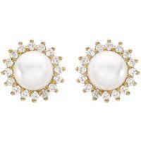 Ladies Essentials 9ct Gold Pearl and Cubic Zirconia Stud Earrings AJ-15010230