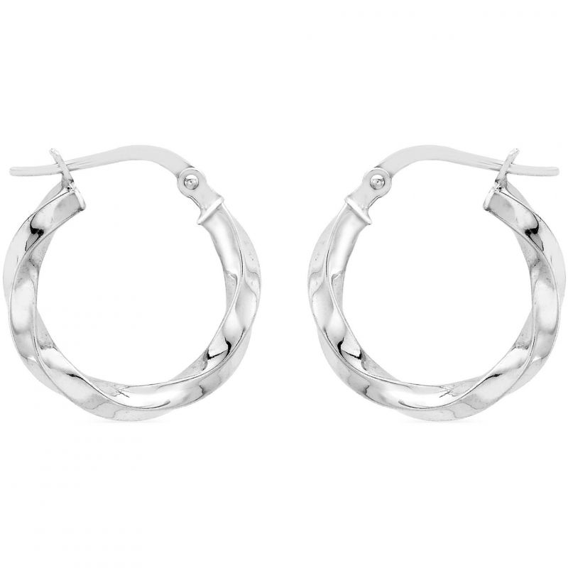 Ladies Essentials 9ct White Gold Twist Hoop Earrings AJ-15030532