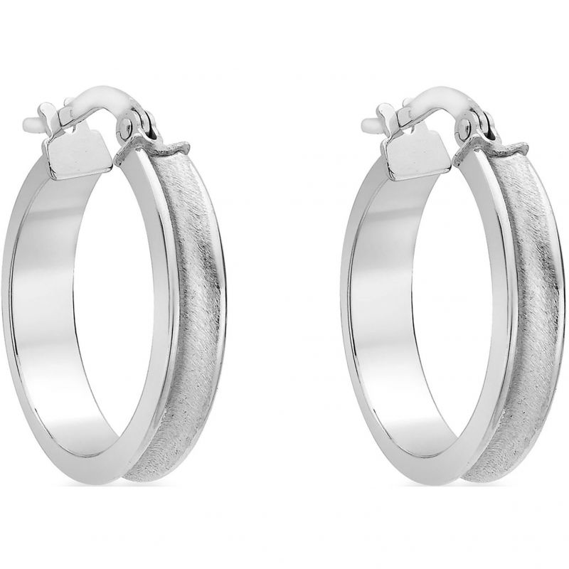 Ladies Essentials 9ct White Gold Hoop Earrings AJ-15030554