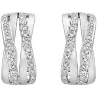 Ladies Essentials 9ct White Gold Diamond Cross Over Earrings AJ-12152340