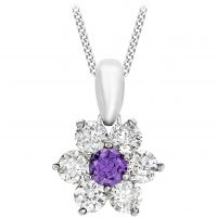 Ladies Essentials 9ct White Gold Purple and White Cubic Zirconia Flower Pendant