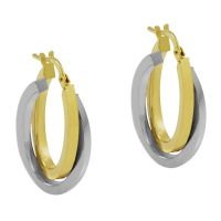 Ladies Essentials Multi colour gold Italian Intertwined Hoop Earrings AJ-15030303