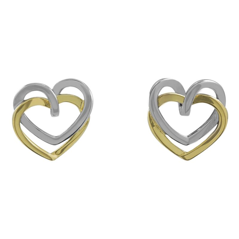 Ladies Essentials Multi colour gold Open Heart Stud Earrings AJ-15010193