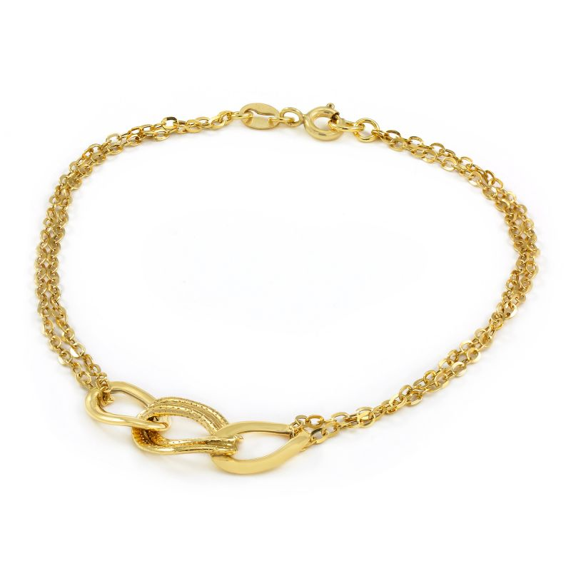 Ladies Essentials 9ct Gold Italian Triple Link Bracelet AJ-11040287