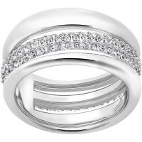 Ladies Swarovski Rhodium Plated Size O Exact Ring 55 5210668