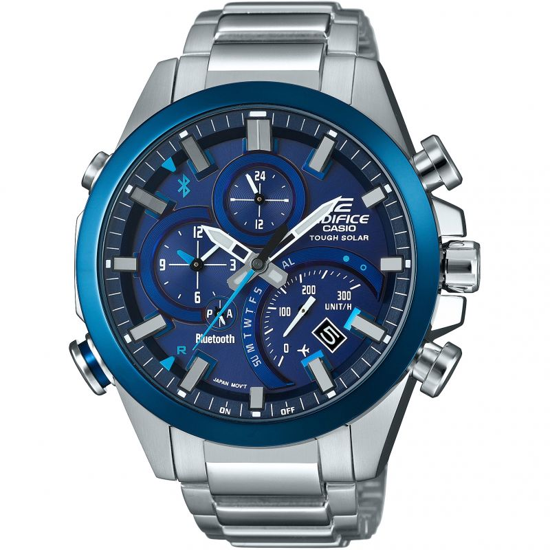 Mens Casio Edifice Time Traveller Bluetooth Hybrid Smartwatch Alarm Chronograph Watch EQB-500DB-2AER